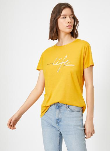 Koton Baskili T-Shirt Sarı